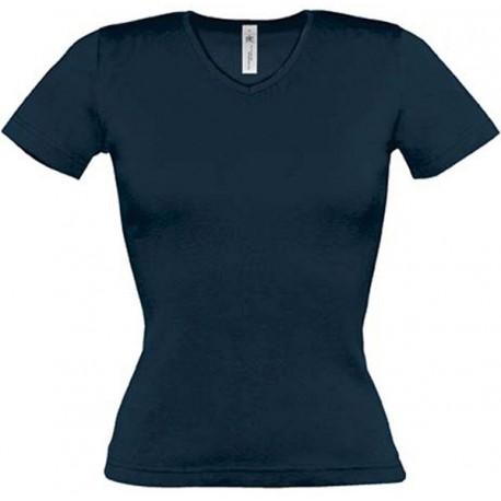Tee shirt de travail femme col v bleu marine