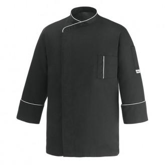 Veste de Cuisine microfibre noire liseré blanc