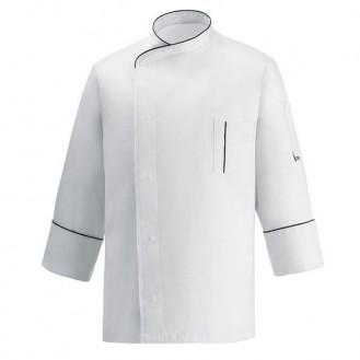Veste de Cuisine microfibre blanche liseré noir