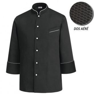 Veste de Cuisine noire dos aéré- Luca