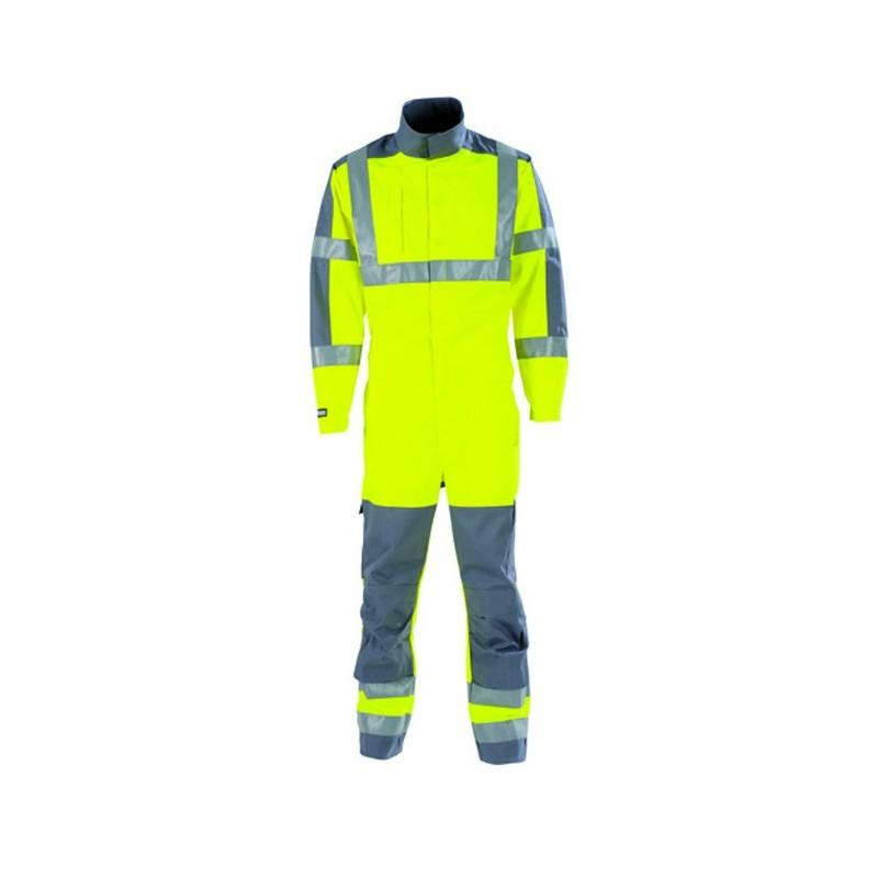 Combinaison de travail haute visibilité protection contre le feu et la chaleur JAUNE HIVI/ACIER 5PRHV82CP
