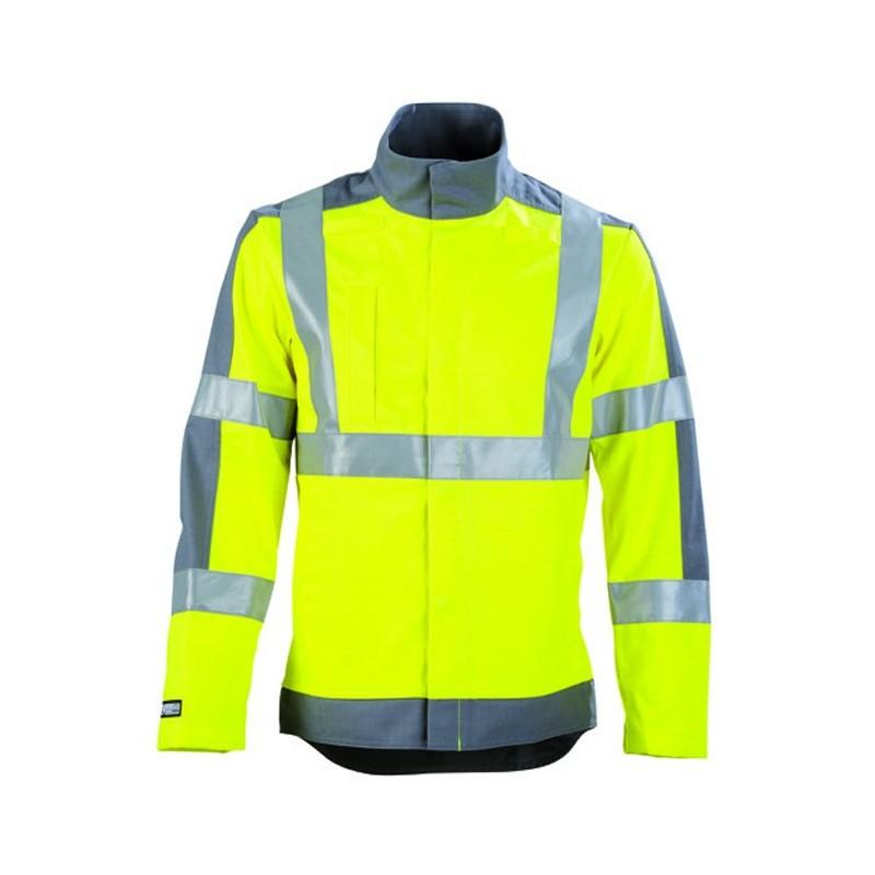 Veste de travail haute visibilité protection contre les arcs électrique et adapté aux zones ATEX JAUNE HIVI/ACIER 2PRHV00CP