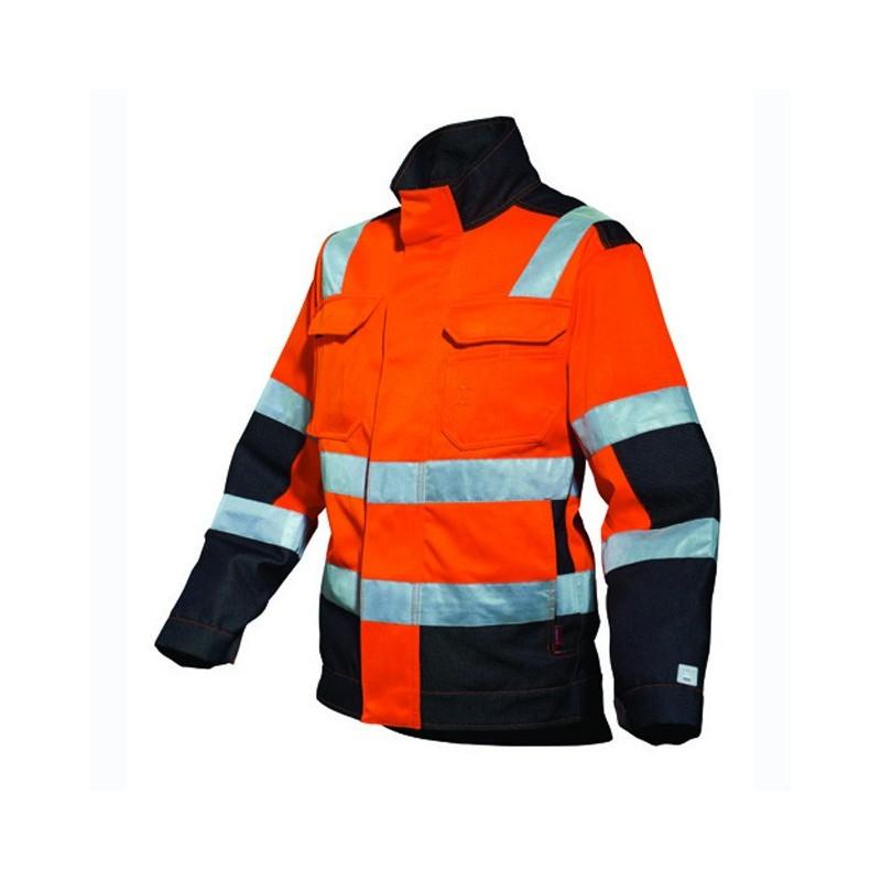 Blouson de travail homme ou femme orange fluo ORANGE HIVI/NOIR 3FLA00CP