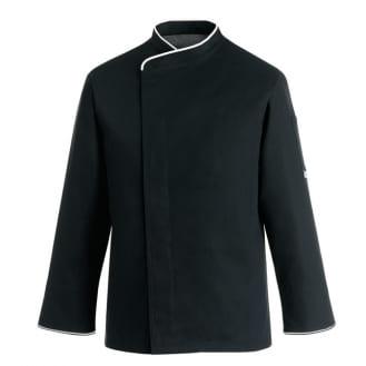 Veste de cuisine noire liseré blanc grande taille manches longues