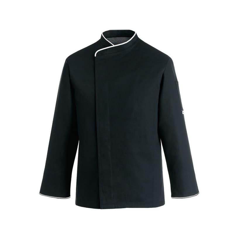 Veste de cuisine noire liseré blanc grande taille - ML ou MC