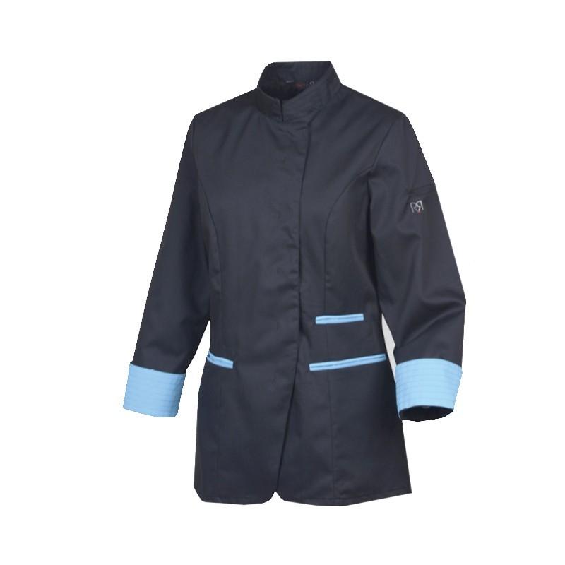 Veste de cuisine femme bleue robur ria for Veste cuisine robur