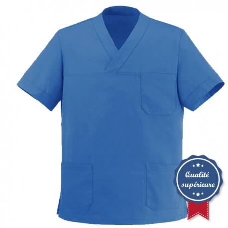 Tunique médicale bleue col V manelli