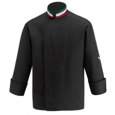 Veste de cuisine noire col italien