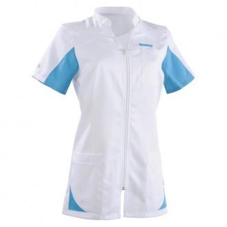 Blouse médicale 2SAN blanc & bleu ciel