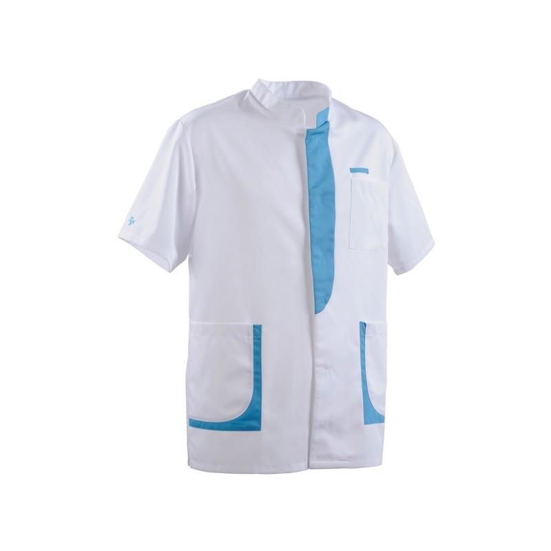 Blouse médicale homme 2LEE blanc & bleu ciel