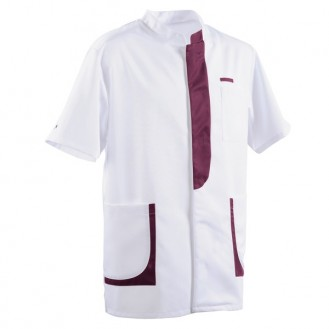 Blouse médicale homme 2LEE blanc & prune