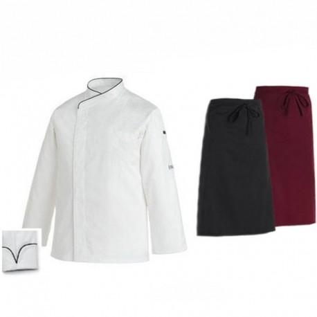 Pack cuisinier liseré noir manches longues