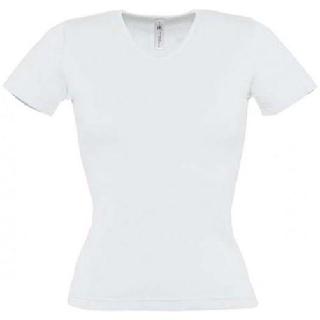 Tee shirt de travail femme col v blanc