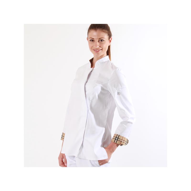 Veste de cuisine femme blanche à carreaux - Usti Robur
