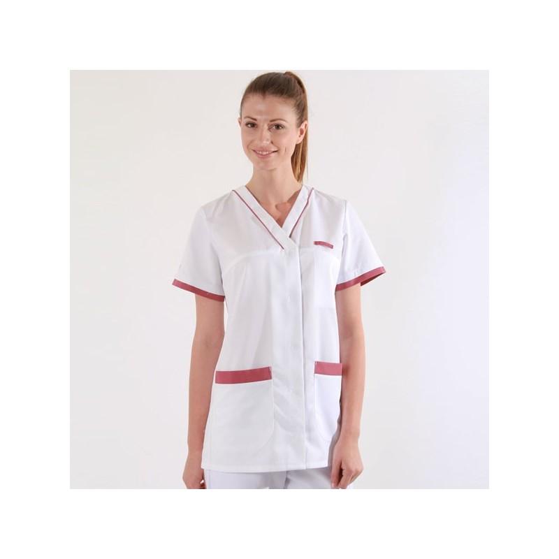 Tunique médicale 2ALE blanc & rose cassis