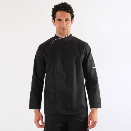 Veste de cuisine noire liseré blanc - ML
