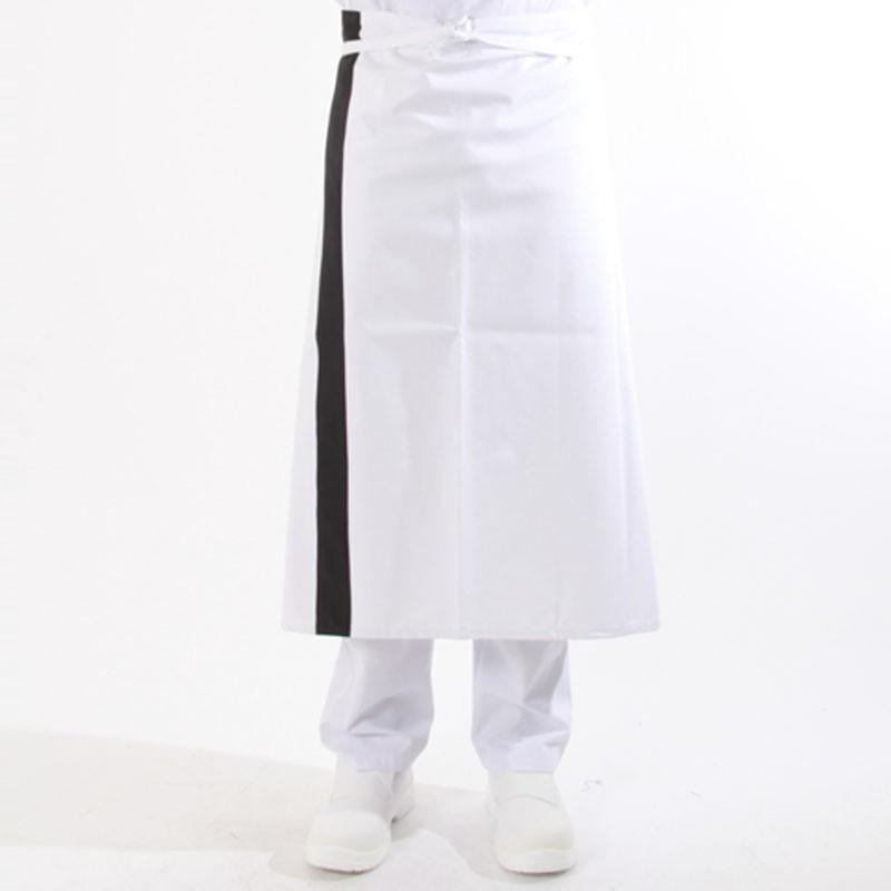 Tablier blanc bande couleur - 90cm