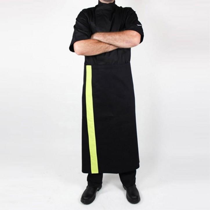 Tablier de pâtissier noir bande couleur - 90cm