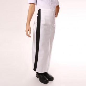 Tablier blanc bande couleur 90cm