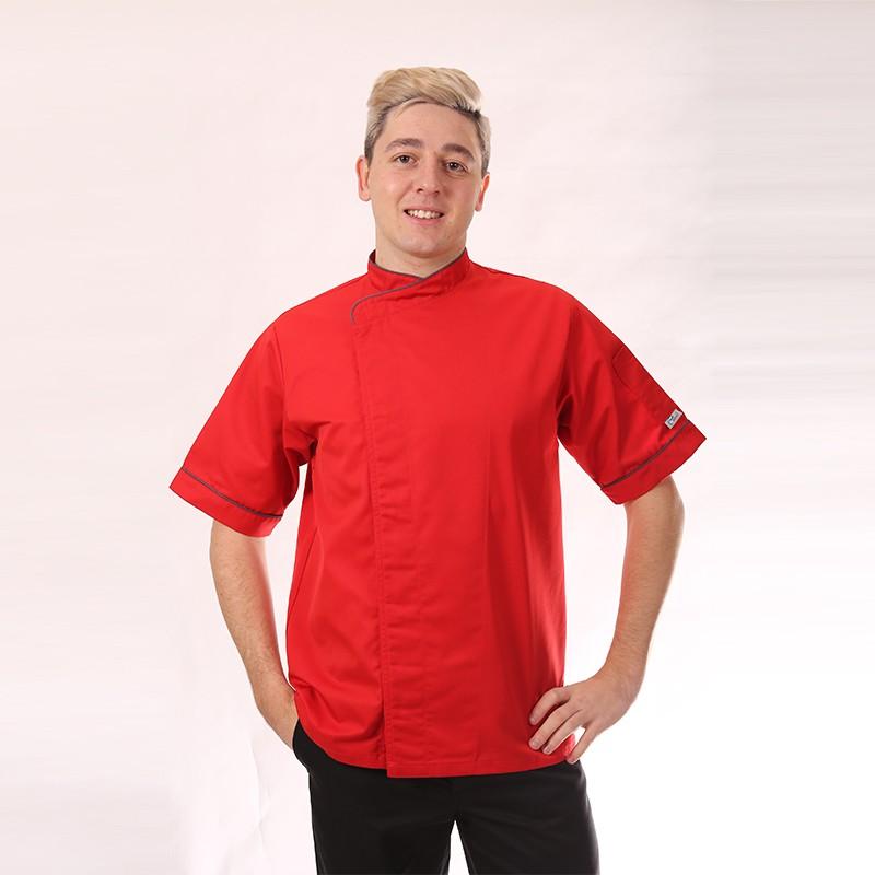Veste de cuisine rouge liseré gris - MC
