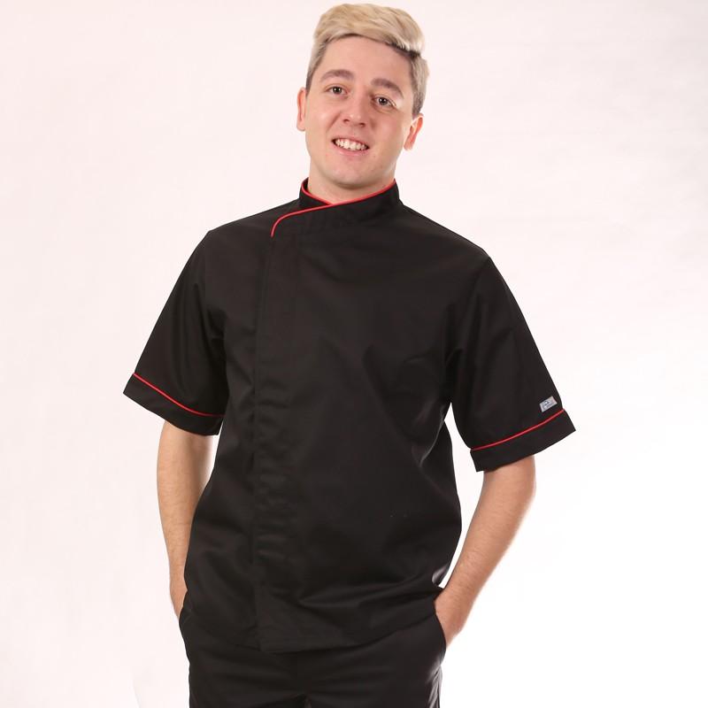 Veste de cuisine noire liseré rouge - MC ou ML