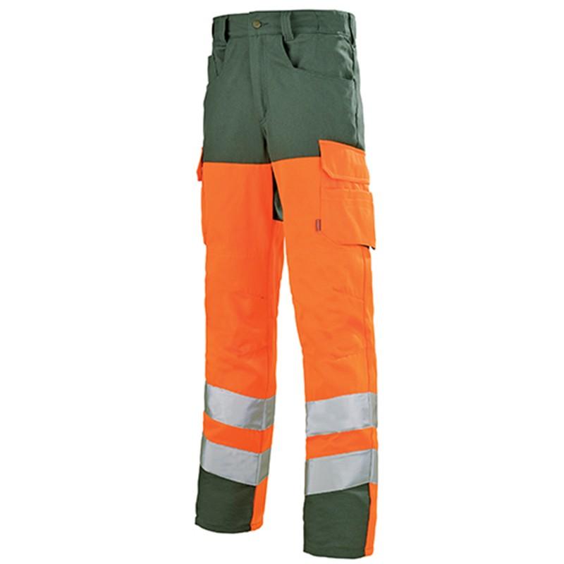 Pantalon de travail ORANGE HIVI/VERT FONCE 1HVGCP