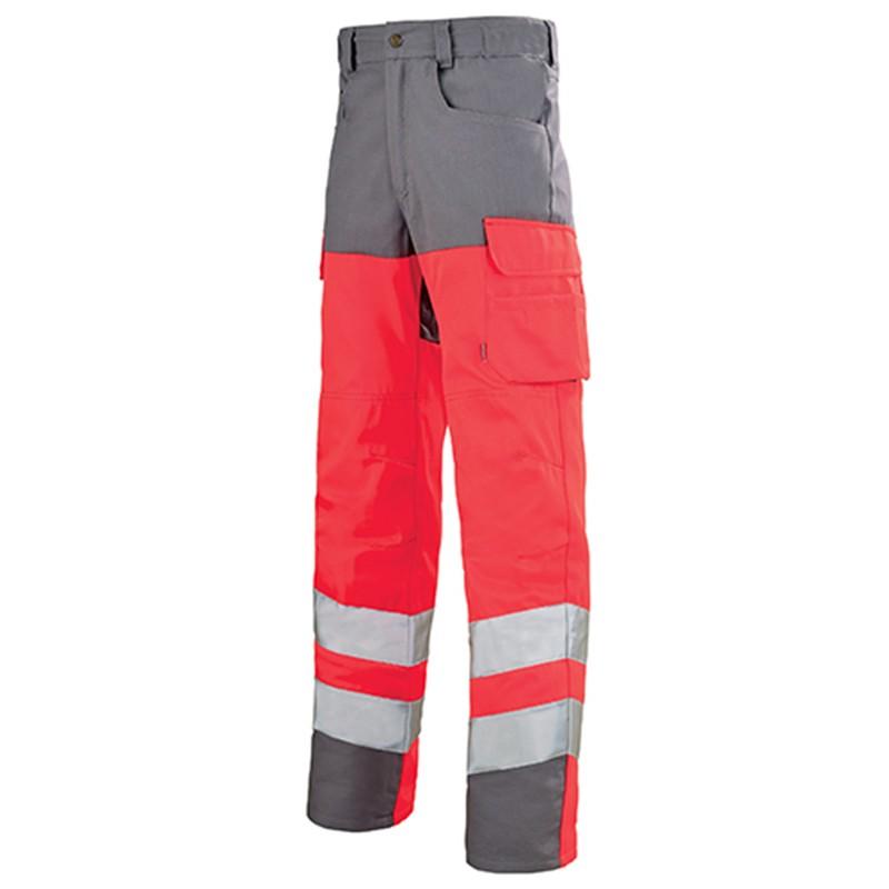 Pantalon de travail fluo ROUGE HIVI/ACIER 1HVGCP