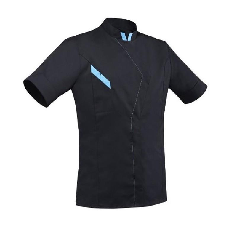 Veste de cuisine noire et bleu robur for Veste cuisine robur