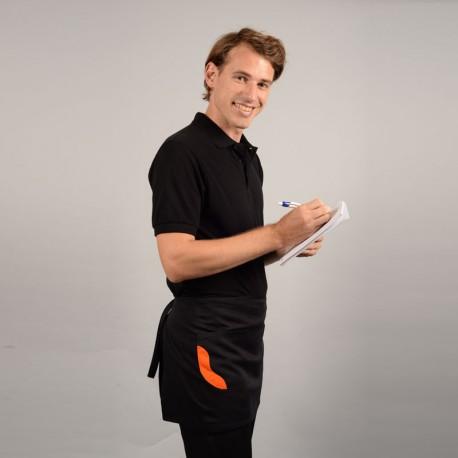 Tablier court bicolore noir poche orange