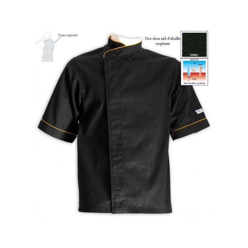 Veste de cuisine grande taille noire lis. orange