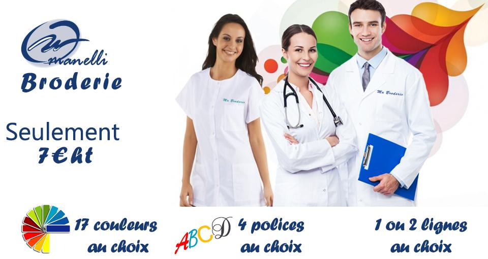 blouse medicale esthétetcienne personnalisée