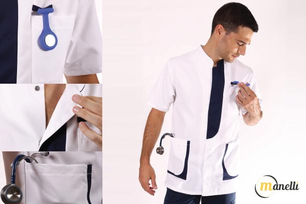 blouse médicale à boutons pressions
