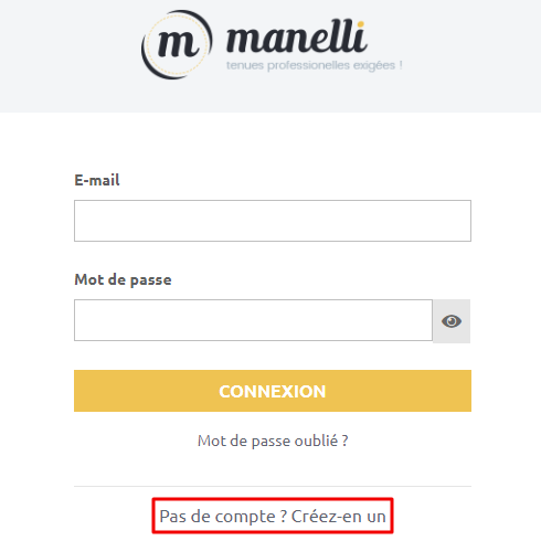 creer compte client Manelli