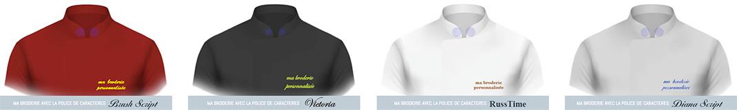4 polices de caractères pour la personnalisation de vestes de travail