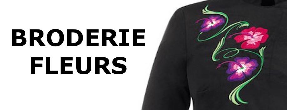 veste de cuisine femme noire motif fleur - livraison 24h - Broderie Veste De Cuisine